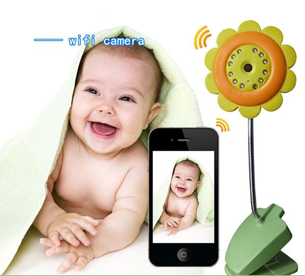 New est WIFI wireless AP baby care monitor with audio support TF card iOS and Android smart phone tablet pc floral