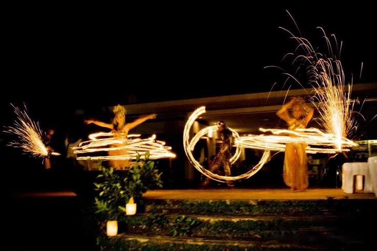 Wedding entertainment | Bali style, fire dancers perform for the guests at Morabito Art Villa, Bali.