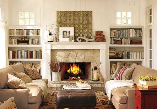 possible family room layout: Barns Living, Built In, Fireplaces, Builtin, Cozy Living Rooms, Living Rooms Furniture, Families Rooms, Living Rooms Ideas, Pottery Barns