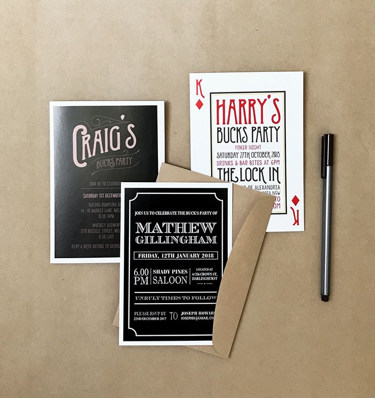 Buck's Party Invitations by Candle Bark Weddings