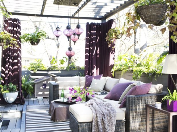 We're ready for spring! Why not dress up your outdoor space with orchid accents? (http://blog.hgtv.com/design/2014/03/05/radiant-orchid-color-of-the-year-2014/?soc=Pinterest)Decor, Purple Room, Outdoor Living Spaces, Outdoor Patios, Outdoor Room, Gardens, Outdoor Living Rooms, Outdoor Spaces, Modern Outdoor