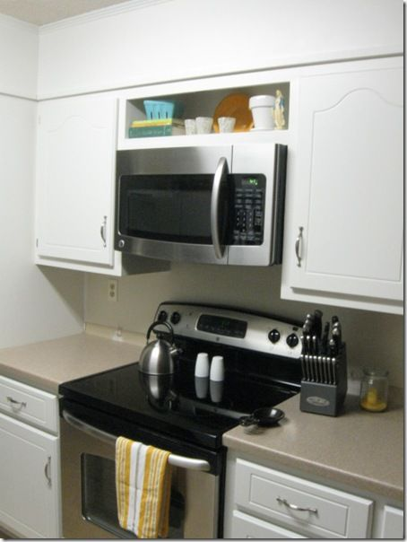 Installing a microwave above range where there is a cabinet