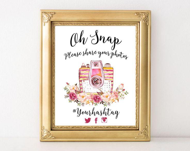 Custom Hashtag Sign, Wedding Hashtag Sign, Oh Snap, Please Share Photos, Social Media Signs, Hashtag, Wedding Printable, Hashtag Printable by AdornMyWall on Etsy