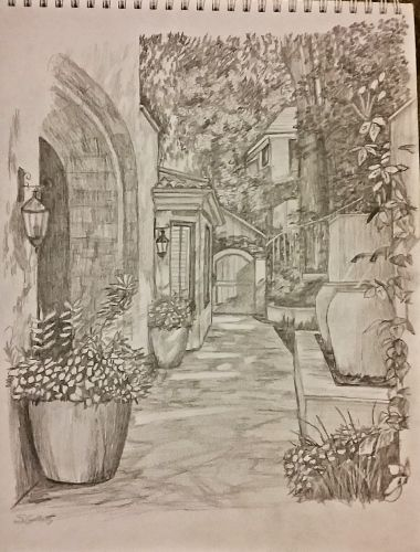 Courtyard by Sheryl Gallant Graphite on paper sketch