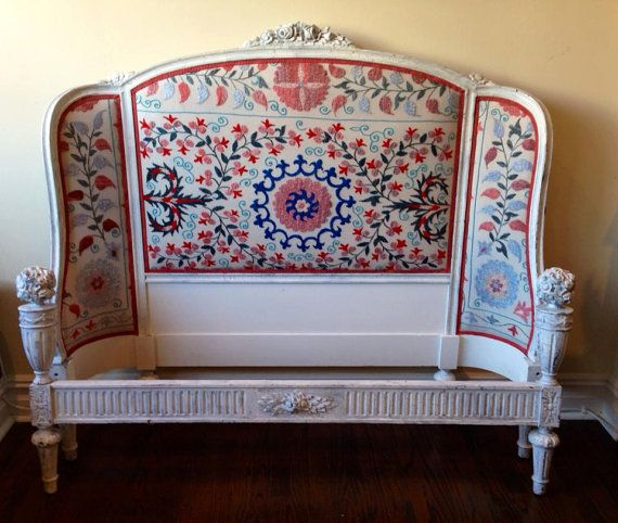 Antique french headboard redesigned vintage uzbek for Painted on headboard