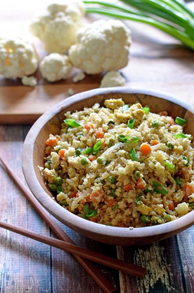 """Cauliflower Fried """"Rice"""".  Healthy, low-carb, and seriously tasty!  Tastes so much like the Chinese takeout but without the guilt!  Easy to make, too! 