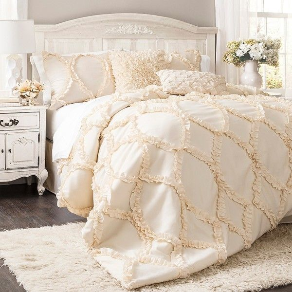 Ivory Avon 3-pc. King Comforter Set (4.300 ARS) ❤ liked on Polyvore featuring home, bed & bath, bedding, comforters, cream comforter, ivory comforter, beige comforter, beige king comforter sets and king sham