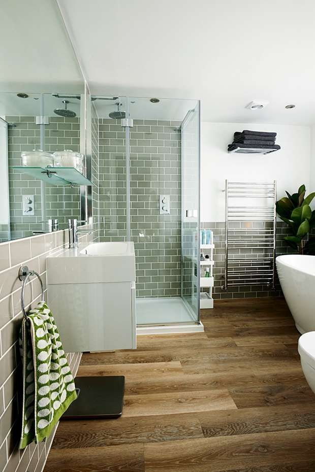 Upstairs Bathroom   Wood Effect Floor, Sage Green Or Peppermint Wall Tiles,  Metal Frame French Style Mirror