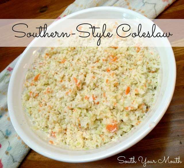 South Your Mouth: Southern-Style Coleslaw - I like my coleslaw with a little horseradish because it has a nice bite but if you want to leave it out, feel free. This recipe makes a moist, slightly sweet coleslaw with just the right amount of twang.