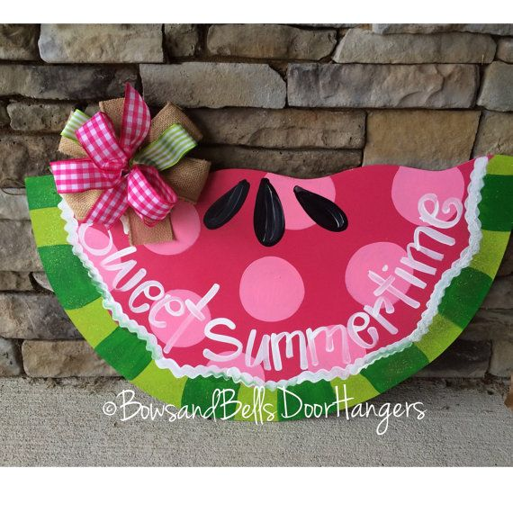 summer door hanger summer wreath summer by BowsandBellsHangers