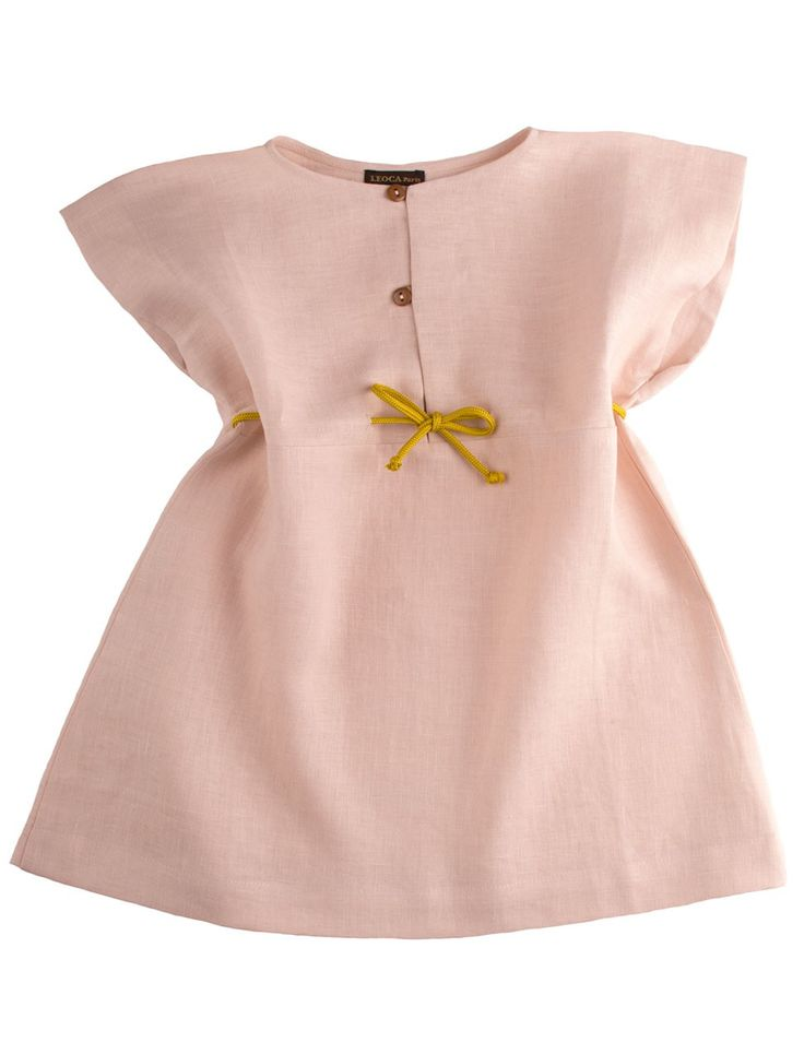 French linen dress with butterfly sleeves in romantic light old rose