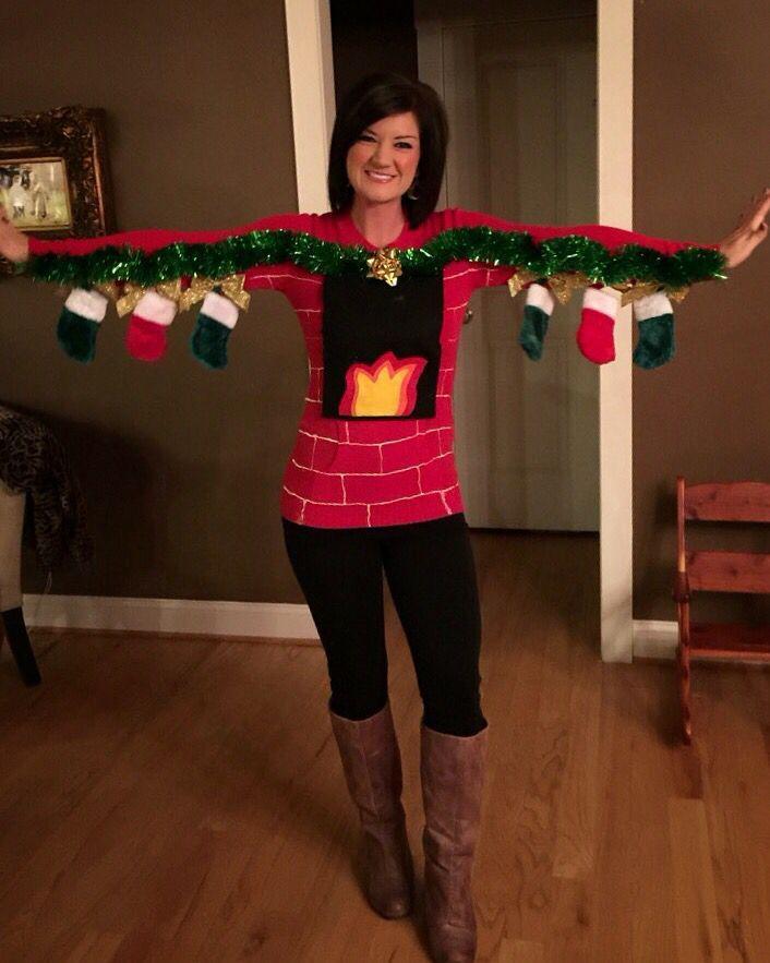 Human fireplace ugly Christmas sweater