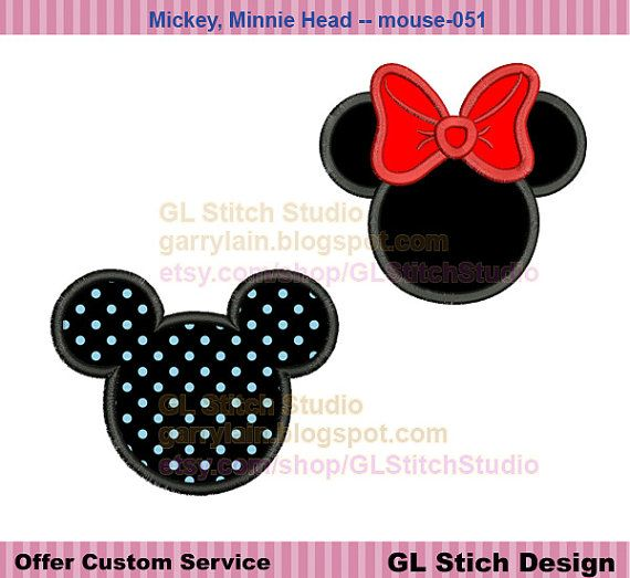 Mickey, Minnie Mouse Head Applique set, face silhouette Applique, 2 designs, special offer machine embroidery, digitize pattern, mouse-051