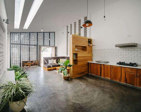 Ngôi nhà 90m² với thiết kế vận dụng tường gạch tuyệt vời tại Kontum qpdesign