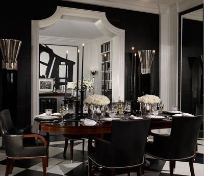 "Ralph Lauren Home Archives, ""Brook Street"" Dining Room, Fall 2010: Decor, Black And White, Interiors Design, Black White, Ralph Lauren Home, Doors Frames, Black Rooms, Black Wall, Dining Rooms Wall"