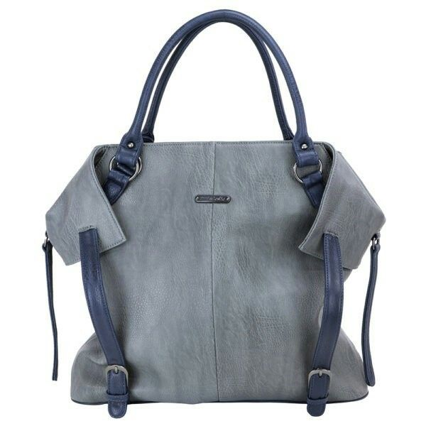 The timi& leslie's Kate diaper bag in grey and navy.