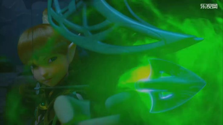 """Liya charged her bow with a magical arrow, that is homing and splitted immediately when shot. This screen captured from """"Dragon Nest: Warrior's Dawn"""", the movie."""