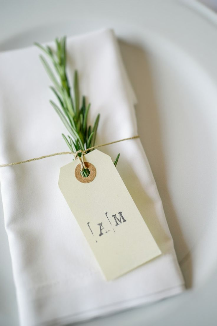 Rosemary Luggage Tag Place Setting Decor Name Intimate Italian Rose Garden Wedding http://landvphotography.it/