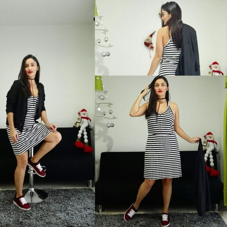 #Outfit #Office #Friday #FunnyTime • #StripedDress #BlackAndWhite • #BlackJaket of @pcfkpacifika • Red #Tennis of #Brangus • #Fashion #Style #LookMichi