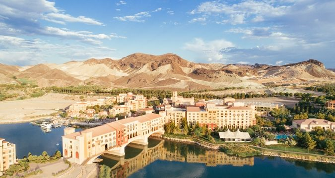 Aerial View of Resort, Water and Mountains | NV 89011