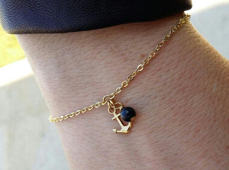Bracelet Ancre marine en laiton doré
