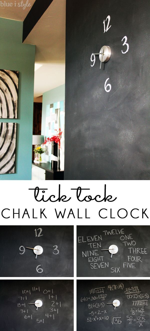 TICK TOCK...A CHALK WALL CLOCK! It only takes five minutes to turn your chalkboard into a clock! In addition to looking pretty cool, you can use it for teaching kids to tell time, read, and learn math!
