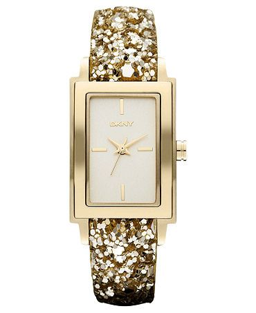 DKNY Watch, Women's Gold Sequin Leather Strap 28x22mm NY8713