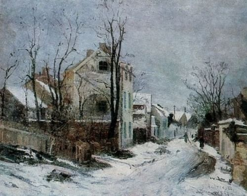 Iarna la Barbizon (Winter in Barbizon), oil on canvas by Ion Andreescu, 1850-1882, Romanian artist of landscapes and member of the Barbizon School of painting. Andreescu was one of founders of Romanian painting.