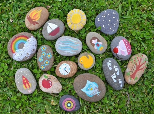Story StonesGift Ideas, Toddlers Plays, Doilies Drawing Str, Easy Doilies, Drawing Str Bags, Stories Stones, Story Stones, Kids, Painting