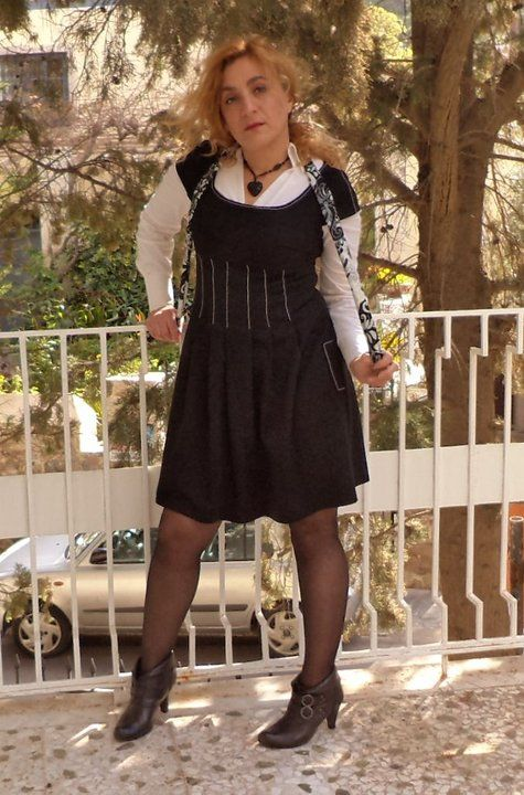 black and white pleated dress