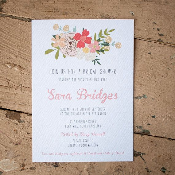 Rustic floral Bridal Shower Invitation  farm by starboardpress, $2.90