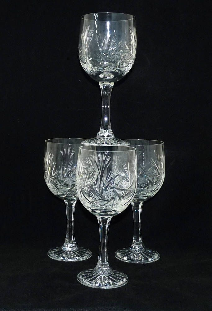 Large Crystal Wine Glasses x 4, Cut Glass Goblets, Bohemia, Continental Europe, Cordial, Wine, Water or Sherbet Glasses, Glassware, Barware by KitschandCollectable on Etsy https://www.etsy.com/uk/listing/546008776/large-crystal-wine-glasses-x-4-cut-glass