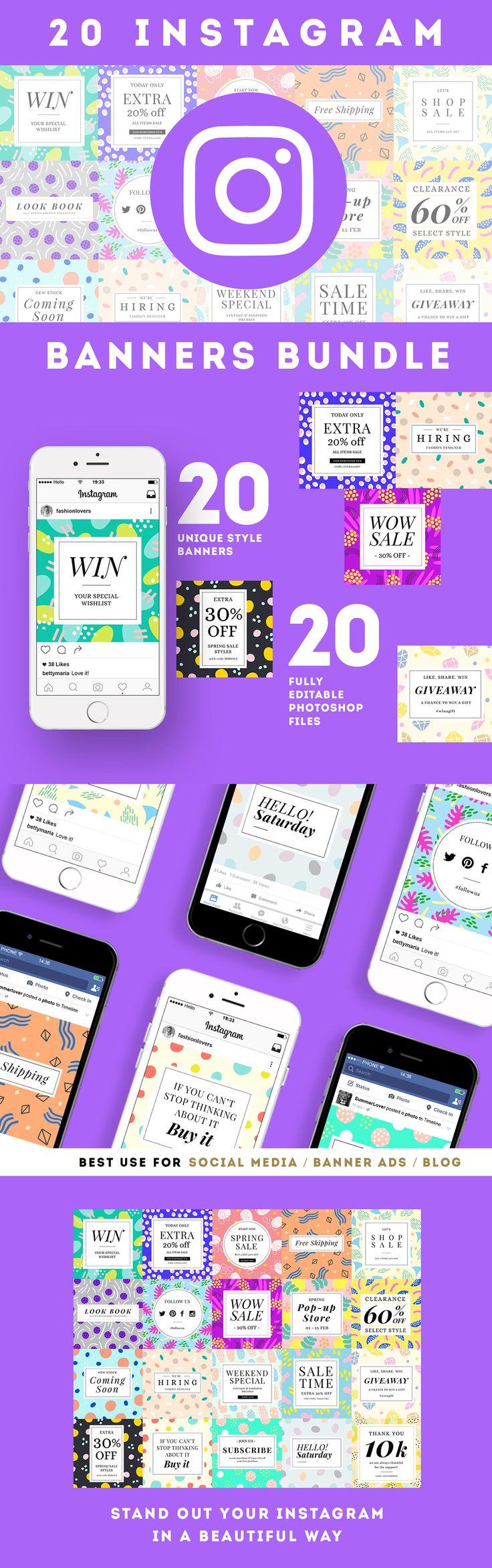 20 Instagram Banners / Social Media Banner Templates Bundle B