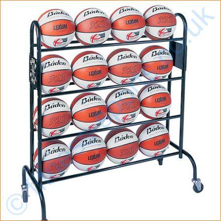 Steel 16 x ball basketball wheeled ball storage rack.