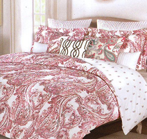 Tahari Zaha Bedding: Tahari Home Zanna Paisley Coral Pink Grey Full Queen 3pc