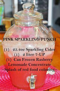Pink Sparkling Punch (1) 25.4oz Sparkling Cider (1) 2 Liter 7-Up (1) Can Frozen Rasberry Lemonade Concentrate Splash of red food coloring