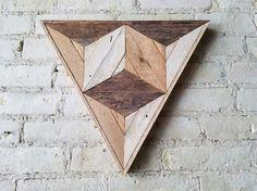 Teruggewonnen hout Wall Art | Hout van de Decor | Teruggewonnen hout | Wood Art | Rustieke geometrische | Hout van de Decor | Handgemaakte | Driehoek kubus | Moderne kunst