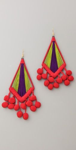 holst + lee mixed fabric earrings with pom-pom detail, so fun! and big
