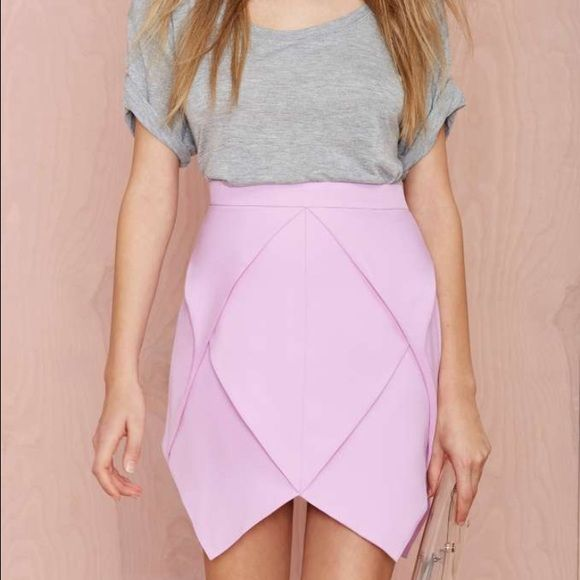 Lavender/purple origami skirt Lavender skirt w/ frilled design and origami shape diamonds/zipper in the back/no stretch/good quality ASOS Skirts