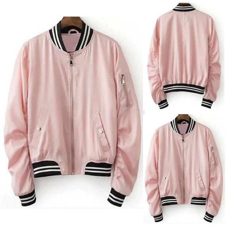 Women's Pink Varsity Baseball Jacket Zipper Coat College Casual Sports Tops New #Unbranded #BaseballJacket