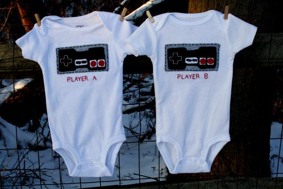 Nintendo Old School NES game PLAYER A and B bodysuits for Twins or siblings, Great way to celebrate a 2nd birth on Etsy, $49.00