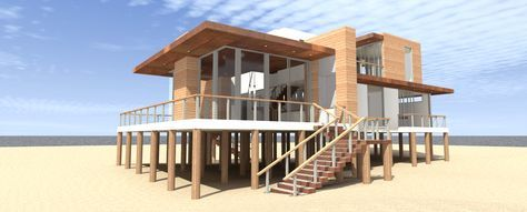 Ultra Modern 4 Bed Beach Home Plan - 44122TD | Beach, Modern, Vacation, Metric, 1st Floor Master Suite, 2nd Floor Master Suite, CAD Available, Den-Office-Library-Study, PDF, Wrap Around Porch | Architectural Designs