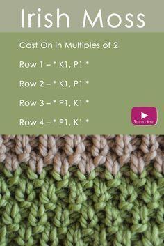 O IRLANDÊS MOSS Knit Stitch: Dia de São Patrício Knitting DIY via @StudioKnit   E ...