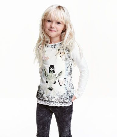 Trikottopp med blondekant | Hvit/Rådyr | Barn | H&M NO