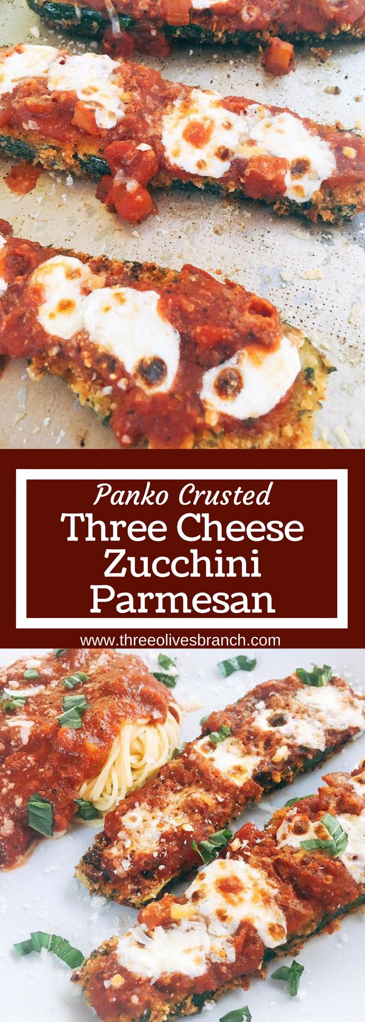 Vegetarian zucchini parm uses three cheeses and a crunchy panko breadcrumb crust to make an amazing alternative to chicken parmesan. Great for weekend meals and finding new ways to use vegetables. | Panko Crusted Three Cheese Zucchini Parmesan | www.threeolivesbranch.com