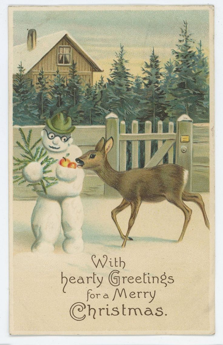 Hearty Greetings for Merry CHRISTMAS Deer SNOWMAN Vintage Postcard FOR SALE • $7.99 • See Photos! Money Back Guarantee. Up for sale is a vintage Christmas postcard featuring a snowman and a deer. Condition is good to very good overall; see photos for details. Check out my store for 172796815297