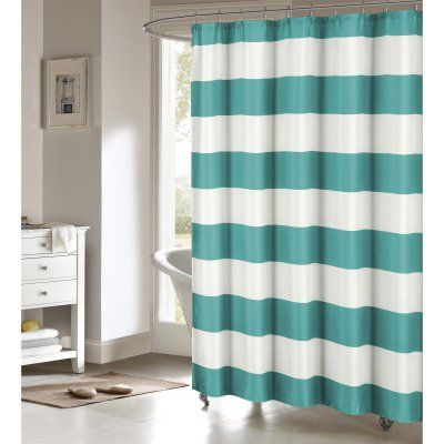 Duck River Toto Faux Linen Shower Curtain Teal/White - TOSTL=12 /10000