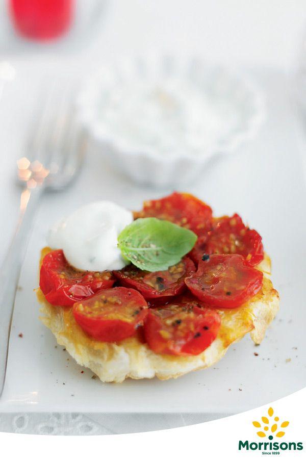 Little Cherry Tomato Tarte Tatins with Basil Cream