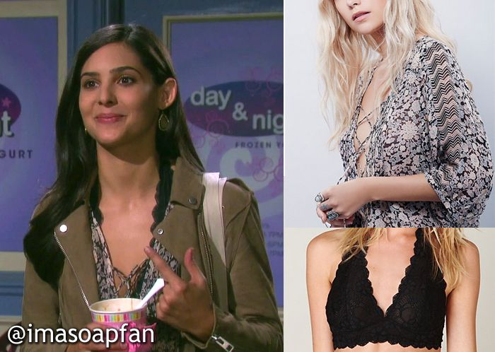 I'm a Soap Fan: Gabi Hernandez's Lace-Up Floral Top and Lace Halter Bra - Days of Our Lives, Season 51, Episode 02/04/16, Camila Banus, #DOOL Fashion, Clothing worn on #DaysofOurLives
