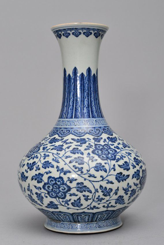 A Ming Style Blue And White Vase H 34cm Lot 245